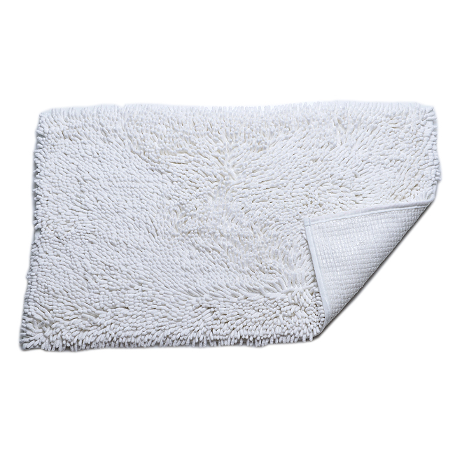 Power Threads� Microfiber Chenille Bathmat-White